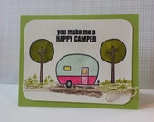 Happy Card Camper Caravan Vintage Inspired Camping Water Color Card