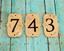 Handmade Ceramic House Numbers, Handmade House Numbers, Custom House Numbers, Dragonfly Numbers, Elegant House Numbers, Butterfly Numbers