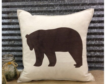 Decorative Pillow with a Bear silhouette. COMPLETE pillow. Cabin decor Hunting lodge decor Home decor Bear pillow