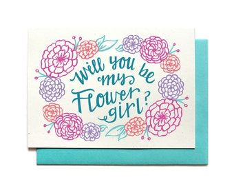 Will You Be My Flower Girl Card - AQUA - Bridal Party Request Card - Ask Flower Girl