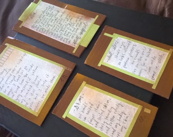 Poems on Paper (dark brown and green) Series