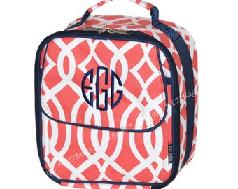 Lunch Bag   Lunch Box   School Lunch Bag   Kids Lunch Bag Box   Personalized Lunch Bag   Insulated Lunch Bag   Coral Vine With Navy Trim