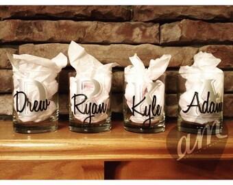 Custom Whiskey Glasses. Perfect Groomsmen Gifts.