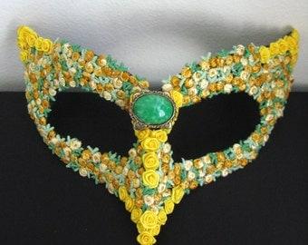 Masquerade Mask, Yellow Roses, Bird Mask, Garden Party - Gold Rush