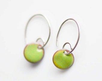 Small Minimalist Enamel Earrings, 3/8 Inch (10mm) Copper Discs, Lime Green Peridot, Handmade Sterling Silver Ear Wires, Simple Earrings