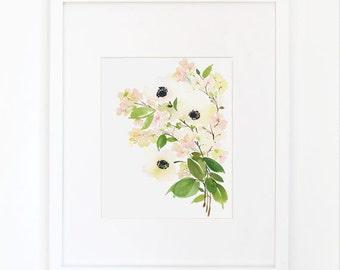 Anemone Splendor- Watercolor Art Print