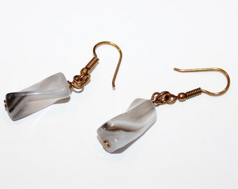 Botswana Agate Earrings on Antique Bronze Hooks