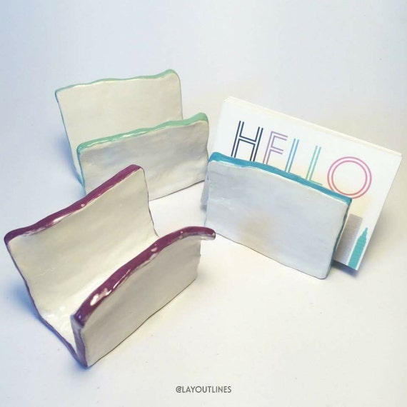 Ceramic business card holders 39paper39 with by shoplayoutlines for Ceramic business card holder