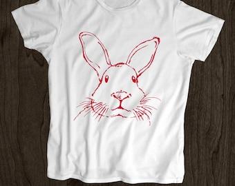 Rabbit Face T Shirt- Kids T Shirt -Toddler Shirt - Screen Printed -100% Cotton