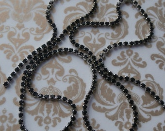 Vintage Swarovski Black Crystal Chain ~ 14pp Size Rhodium Plate ~ 1 Yard 3ft. (36 Inches) Per Order ~ Jewelry Making Finding Components Bulk