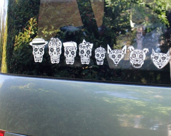 Day of the Dead Art Sugar Skulls Car Stickers #77-84
