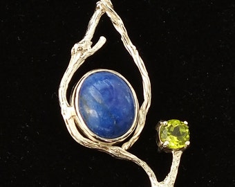 Lapis and Peridot pendant, Sterling silver, Twigs and vines, USA Made, Free Shipping, 20 in sterling box chain