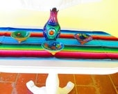 AQUA BLUE Mexican Table Runner, Authentic Serape Fabric table cloth from Mexico, Table Linen, Aztec. tribal, houseware,