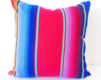 Tribal Pillow Cover 26X26 Inch, Blue Aztec Mexican Cushion, Ethnic Blue Throw Boho Chic Decor, Global Geometric Striped, Fiesta Decoration