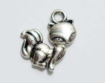 Silver Fox Design Charms set of 6 / #091