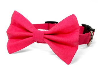 Solid hot pink dog bow tie collar set & cat bow tie collar set - adjustable with bell (optional)