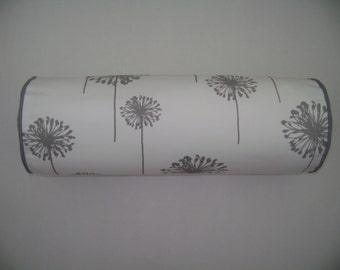 Grey Dandelion Bolster Pillow Cover, 6''x16'' Decorative Bolster Pillow Cover, Grey Floral Pillow Cover