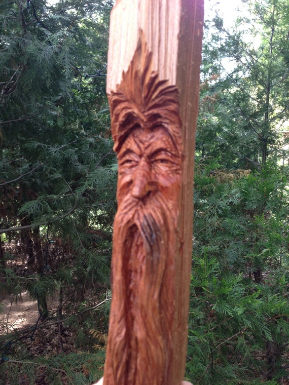 Hand carved redwood watcher viking wizard wood spirit carving