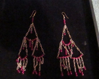 Sale- Awesome 1970's Chain and Bead Earrings Shoulder Dusters