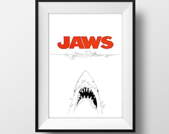 Jaws Movie Poster - Graphic Illustration 6x4 - Art Print