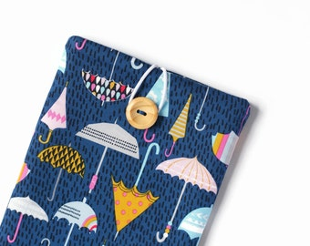 Kindle Cover, Kindle Voyage Case, Kindle Oasis Cover, Blue Padded Sleeve for Paperwhite Ereaders and Tablets - Rainy Umbrellas on Blue