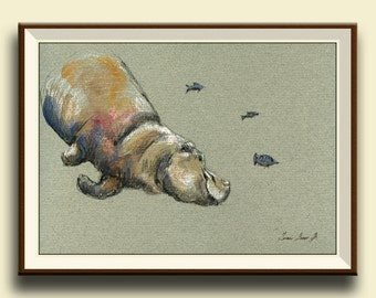 PRINT-Hippo swimming animal- hippopotamus painting print- art hippo wall decor - river safari african portrait  - Art Print by Juan Bosco
