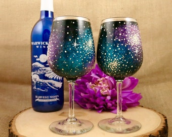 Hand painted 11oz Galaxy Wine Glass Set