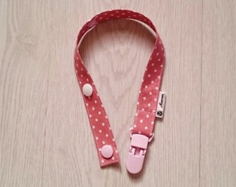 Pink Dotted Pacifier/Toy Chain