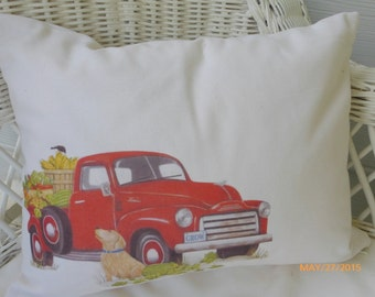 Red Truck Pillow Cover - Fathers Day gift -Decorative Pillow Cover - Labrador Retriever - yellow lab - animal pillow - Dog Pillow Cover