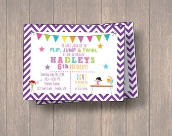 Gymnastic Birthday Party, Gymnastic Birthday Invitation, Gymnastic Invitation, Gymnastic Party, Matching Thank you Cards