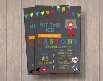 Hockey Boys Birthday Invitation, , Boy Birthday Invitation, Digital file, Hockey Birthday Party