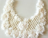 White Shabby Flower With Pearls Neck Collar Trim, Fabric Applique - 030315A186