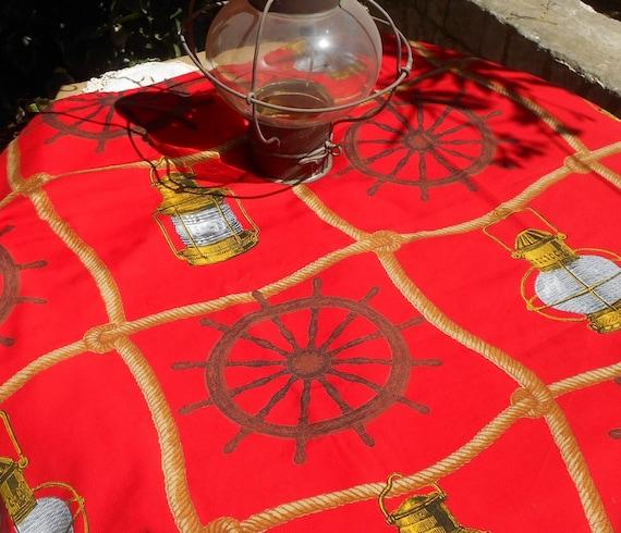 60's Red Nautical Tablecloth French Boussac Designer Art Print Cap Horn by Laurent Stève Home Decor Fabric Curtain Pillow #sophieladydeparis