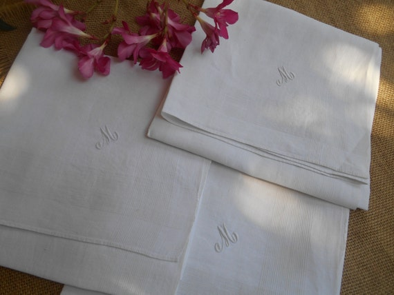 "3 Victorian White Linen Men's Handkerchiefs Large ""M""  Monogrammed French Tissues Pocket Squares #sophieladydeparis"
