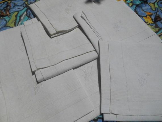 "2 Large Victorian White Linen Men's Handkerchiefs Bordered ""C""  Flowery Monogram French Tissues Pocket Squares"