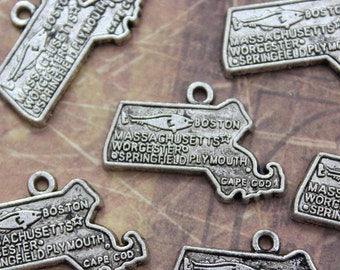 10 Massachusetts State Map Charms Antiqued Silver Tone 25 x 15 mm