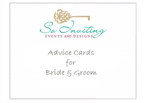 Custom Made Advice Cards For Bride And Groom By