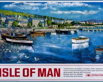 Isle of Man British Rail Travel Poster Print-  1960s