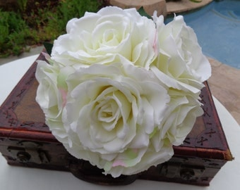 Bridal bouquet designed with open garden roses-READY TO SHIP