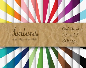 Sunbursts Digital Paper - Sunburst Backgrounds - Sunburst Designs -  24 Colors - 12in x 12in - Commercial Use -  INSTANT DOWNLOAD