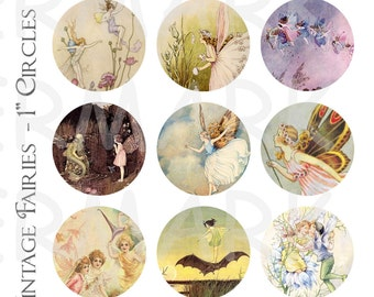 Vintage Fairies - 4 x 6 Digital Collage Sheet  - 1 inch Round Circles - INSTANT DOWNLOAD