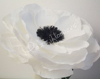 Wedding flowers,paper flowers, anemone flower,giant flowers poppy paper 1 pcs,paper flowers ,bridal flower,paper flowers anemone .