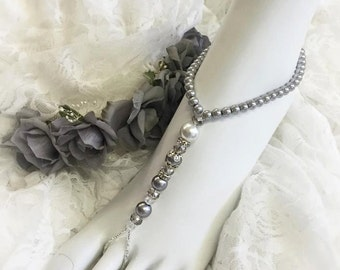 La Luna- Beaded Barefoot Sandals - Silver and White - Ready to ship