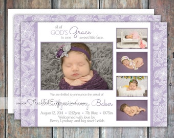 Baby Girl Birth Announcement - Purple Grace