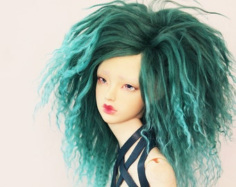 "BJD mohair wig - Turqouis Teal - 8/9"""