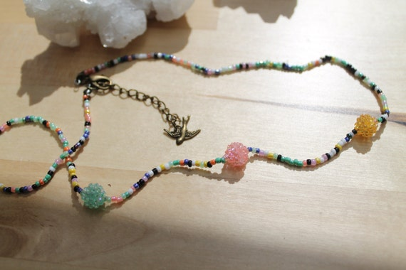 Tutti-berry and swallow beaded necklace