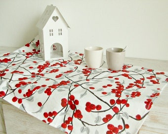 Spring table runner with red fruits printed, white and red, modern table runner,woodland table runner,nordic table runner