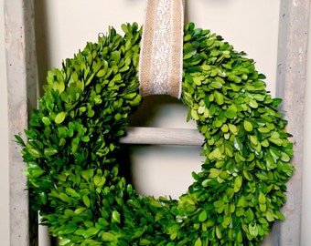 Wreaths - Boxwood Wreath - Natural Wreath - Home Decor - Burlap Ribbon - Year Round Wreath - Burlap Lace Ribbon - Welcome Wreath - Wreath