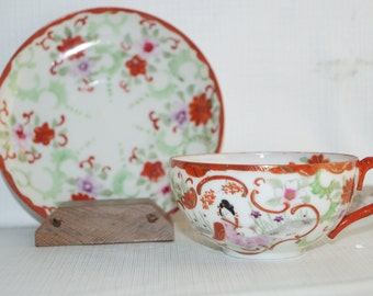 All Handpainted Antique Japanese Eggshell Porcelain Geisha Girl Red Teacup Tea Cup Saucer