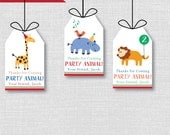Party Animals Birthday Favor Tags - Zoo Animals Theme Birthday Party - Digital Design or Handcrafted Tags - FREE SHIPPING